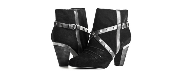 Fashionable Black Suede and Leather Boots for Women isolated on White Background