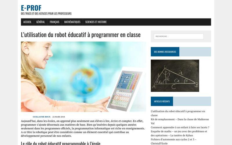 L'utilisation du robot éducatif à programmer en classe – E-prof