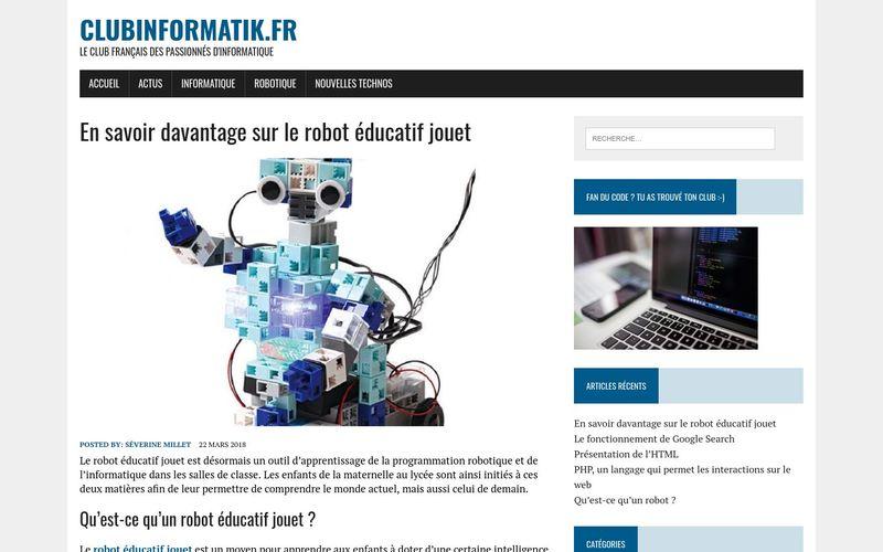 En savoir davantage sur le robot éducatif jouet – clubinformatik.fr